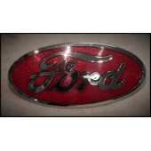 1932 FORD GRILLE SHELL EMBLEM - FORD OVAL- RED