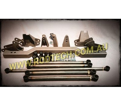1955 TO 1957 CHEV REAR FOUR LINK SUSPENSION KIT - MILD STEEL - 2 BAR ADJUSTABLE KIT INCLUDES - bars, chassis brackets, diff brackets, panhard kit, chassis coil over cross member, bushes, nuts and bolts.