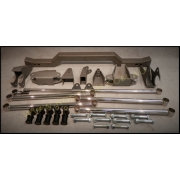 1955 TO 1957 CHEV REAR FOUR LINK SUSPENSION KIT - STAINLESS STEEL - NON ADJUSTABLE KIT INCLUDES - bars, chassis brackets, diff brackets, panhard kit, chassis coil over cross member, bushes, nuts and bolts.
